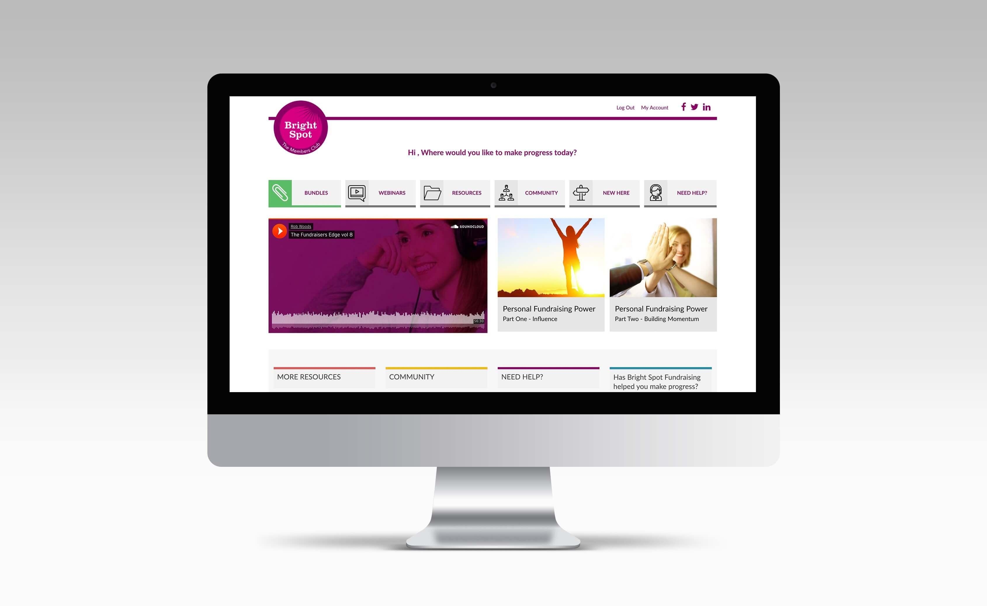 Bright Spot Fundraising Members Club Website Design West Midlands