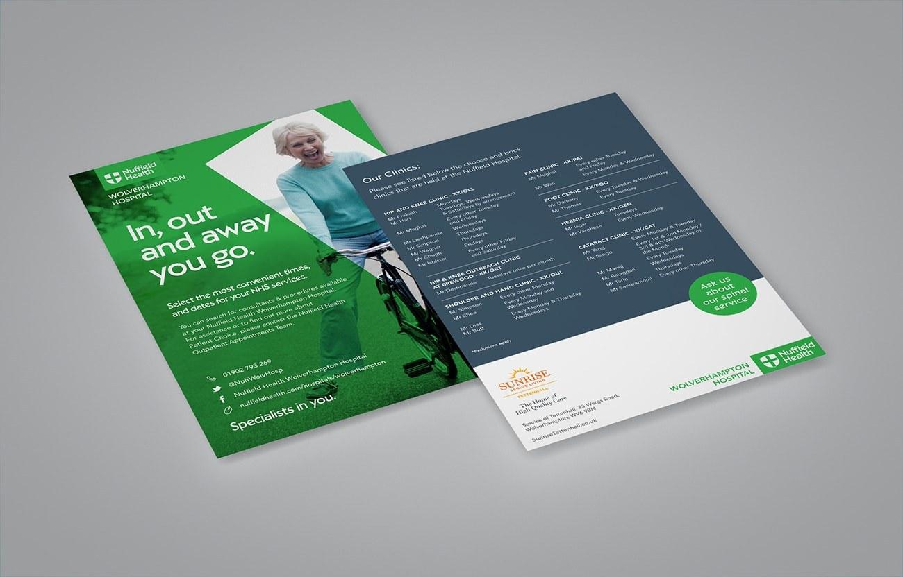 Leaflet design Healthcare West Midlands Nuffield