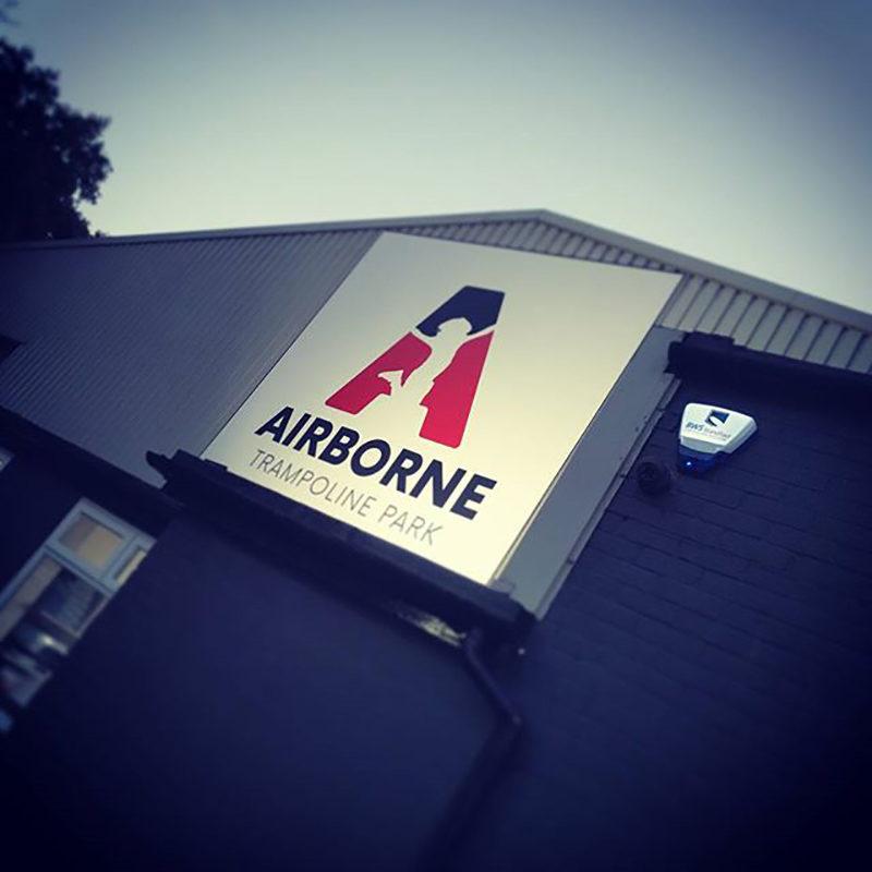 Airborne Trampoline Exterior Signage Design